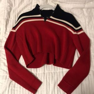 Cropped red and navy sweater